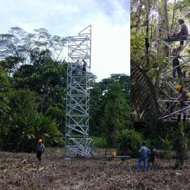 Erecting the test tower